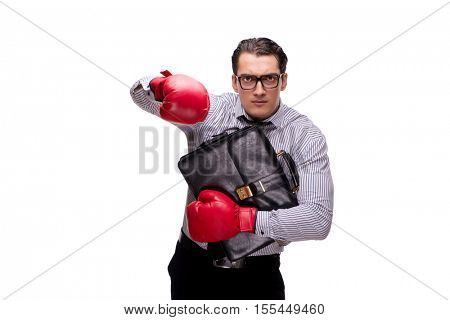 Aggressive businessman with boxing gloves isolated on white