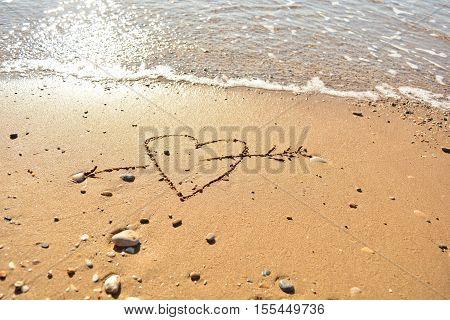 the inscription on the sand near the sea