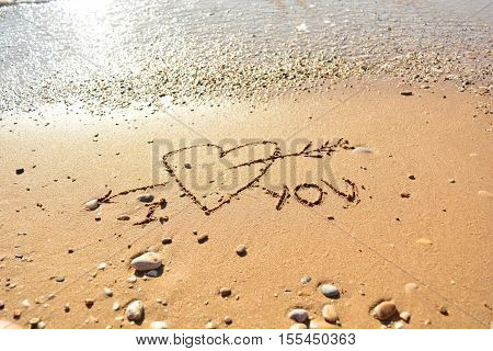 the inscription on the sand near the sea