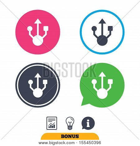 Usb sign icon. Usb flash drive symbol. Report document, information sign and light bulb icons. Vector