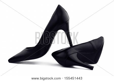 Black evening women's shoes with high heels isolated on white background