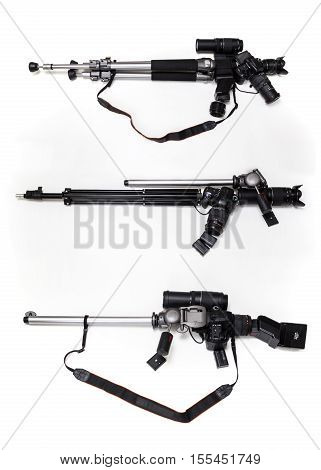 Gun made of photographic gears. Photography as a weapon.