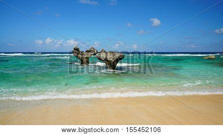 The Heart Rock Kouri Jima. one of the landmark on Okinawa island Japan.
