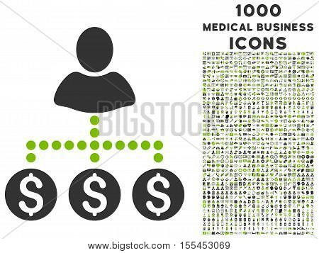 User Payments vector bicolor icon with 1000 medical business icons. Set style is flat pictograms, eco green and gray colors, white background.