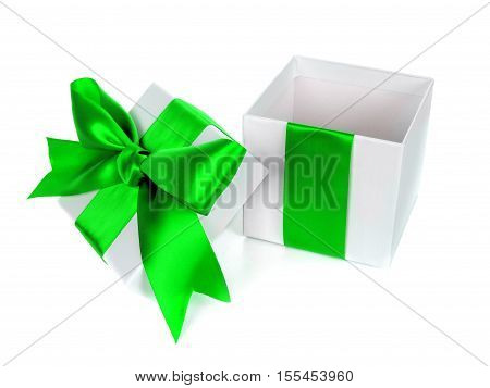 Opened, Empty, White Christmas Gift Box With Lid Green Bow And Ribbon