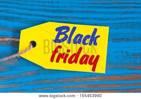 Black Friday sales tag. Sale, discount, advertising, marketing price tag for clothes, furnishings or cars, food sale.