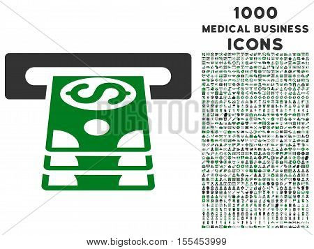 Bank Cashpoint vector bicolor icon with 1000 medical business icons. Set style is flat pictograms, green and gray colors, white background.