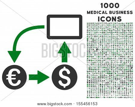 Cashflow Euro Exchange vector bicolor icon with 1000 medical business icons. Set style is flat pictograms, green and gray colors, white background.