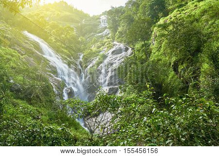 Heart-shaped waterfall in sunlight. Pitugro waterfall is situated in deep forest of Umpang, Thailand.