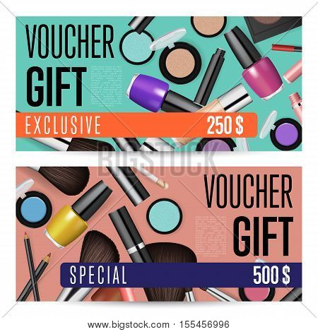 Cosmetic Voucher Vector Photo Free Trial Bigstock - Makeup gift certificate template