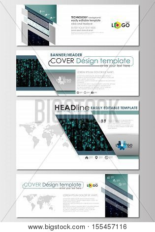 Social media and email headers set, modern banners. Business templates. Cover design template, easy editable, abstract flat layout in popular sizes. Virtual reality, color code streams glowing on screen, abstract technology background with symbols.