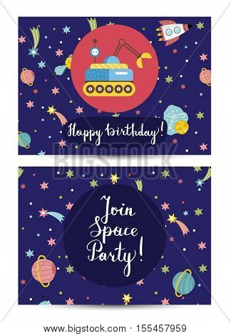 Happy birthday cartoon greeting card on space theme. Planet exploration rover, rocket, colorful stars and planet, comet vector illustrations on blue background. Invitation on childrens costumed party