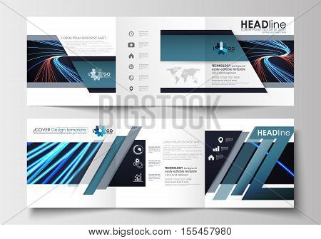 Set of business templates for tri-fold brochures. Square design. Leaflet cover, abstract flat layout, easy editable blank. Abstract lines background with color glowing neon streams, motion design vector.