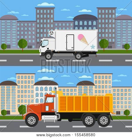 Commercial refrigerator truck and tipper on road in city vector illustration. Urban cityscape background. Modern lorry truck side view. Vehicle for cargo transportation. Trucking and delivery service