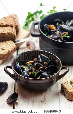 Closeup Of Mussels As A Lunch By The Sea