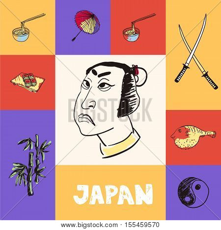 Checkered concept with japanese national and country related symbols. Samurai face, swords, noodles with sticks, umbrella, sushi, bamboo, yin yang symbol, fugu fish hand drawn vector icons set