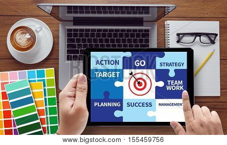 Achievement Success Goals And Success And Team Work  Jigsaw Puzzle  To Target