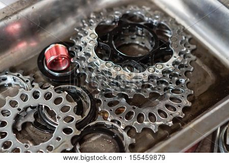 Bicycle gear cassette disassembled / bicycle equipment