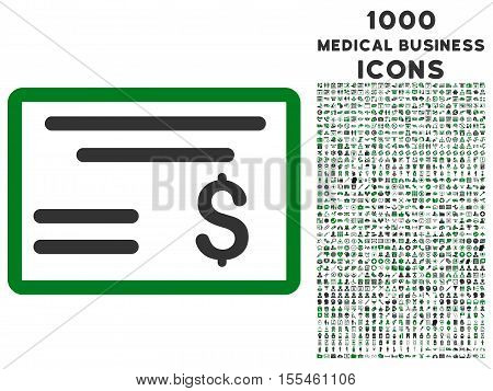 Dollar Cheque vector bicolor icon with 1000 medical business icons. Set style is flat pictograms, green and gray colors, white background.