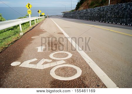 Road Slope Downhill Cyclist Symbol On The Road For Cyclists Only.