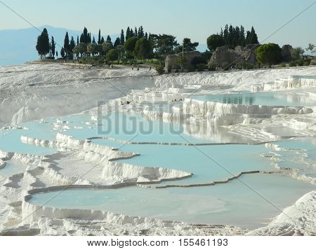 Travertine terrace formations at Pamukkale in Turkey