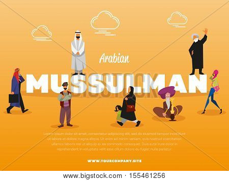 Arabian mussulman banner with people in national costume vector illustration. Islamic religious people. Man in white gown and woman in paranja. Muslim in traditional clothes doing different activities