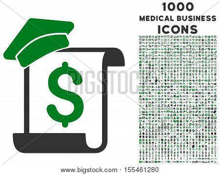 Education Invoice vector bicolor icon with 1000 medical business icons. Set style is flat pictograms, green and gray colors, white background.