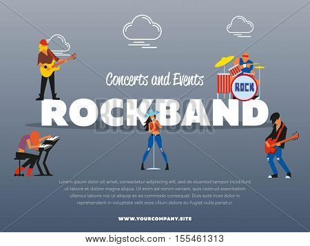 Concert and events rockband banner vector illustration. Singer, guitarist, drummer, solo guitarist, bassist, keyboardist characters performs on stage. Rock star. music group with musicians concept.