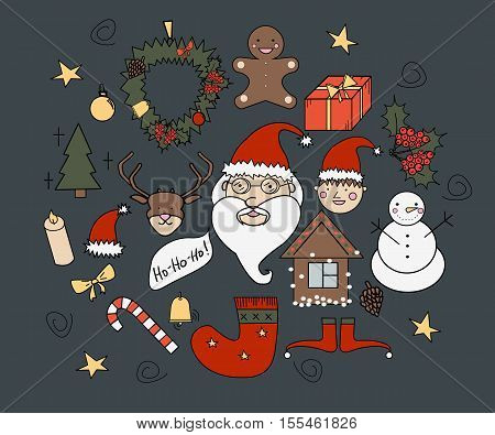 merry christmas set. vector illustration for your print postcard or another design.