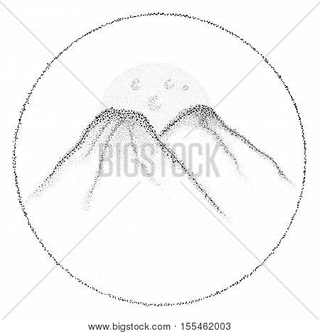 vector dotwork mountains for your design postcard placard or tattoo sketch.