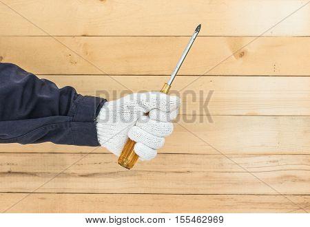 Hand In Glove Holding Screwdriver