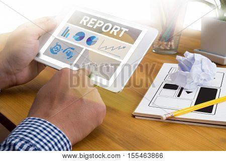 Report Business Plan businessman hand working analysis, business, businessman