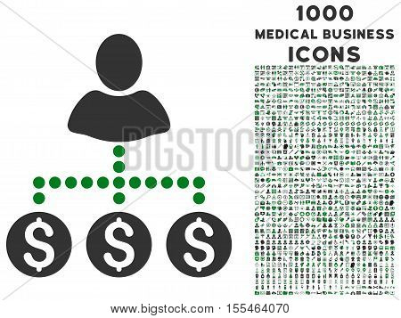 User Payments vector bicolor icon with 1000 medical business icons. Set style is flat pictograms, green and gray colors, white background.
