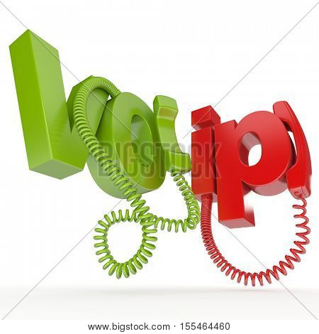 3D rendering of a pair of unhooked telephones  with the word VOIP in green and red