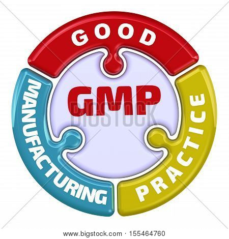GMP. Good Manufacturing Practice. The check mark in the form of a puzzle. The inscription