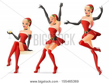 Set of pretty pinup girls in red Santa Claus costumes in different poses. Cartoon style vector illustration isolated on white background.