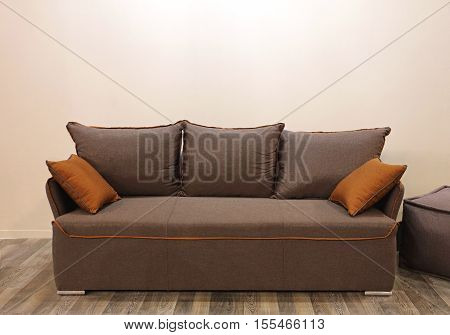 Modern Textile Sofa With Two Pillows in Living Room