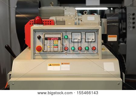 Machine Control Panel Gauges and Emergency Stop Switch
