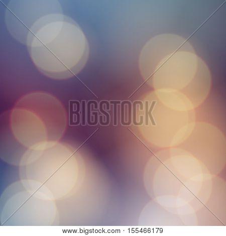 Vector bokeh background. Festive defocused lights. Abstract blurred illustration.