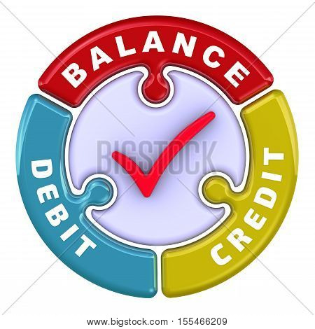"Debit, credit, balance. The check mark in the form of a puzzle. The inscription ""debit credit balance"" on the puzzle in the shape of a circle. 3D Illustration. Isolated"