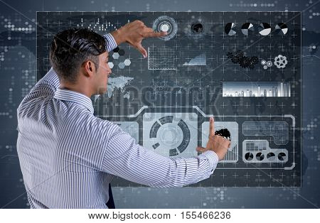 Businessman in data mining concept