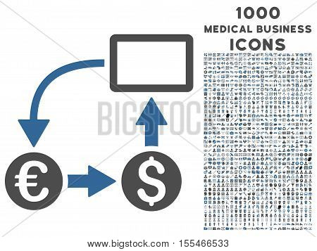 Cashflow Euro Exchange vector bicolor icon with 1000 medical business icons. Set style is flat pictograms, cobalt and gray colors, white background.
