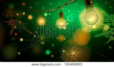 new years background vector illustration of beautiful background with handmade lighting garland for patio wedding