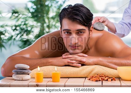 Handsome man during spa session
