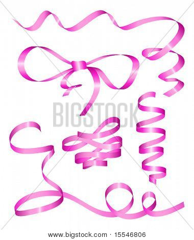 Collection of pink holiday ribbon. Vector illustration