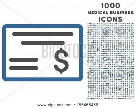 Dollar Cheque vector bicolor icon with 1000 medical business icons. Set style is flat pictograms, cobalt and gray colors, white background.