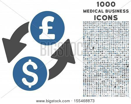 Dollar Pound Exchange vector bicolor icon with 1000 medical business icons. Set style is flat pictograms, cobalt and gray colors, white background.