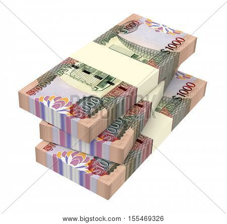 Guyanese dollar dollar bills isolated on white background. 3D illustration.