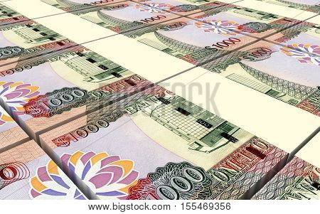 Guyanese dollar dollar bills stacks background. 3D illustration.