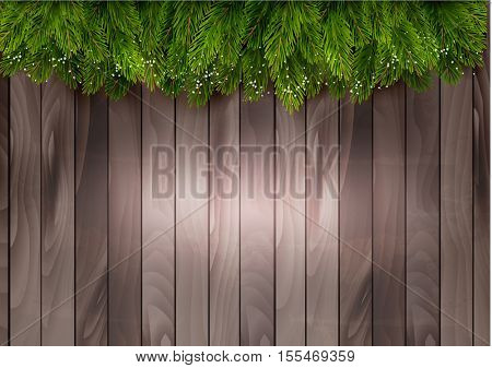 Christmas tree branches on a wooden backdrop. Vector.